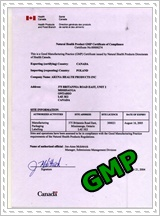 Natural Health Product GMP Certificate